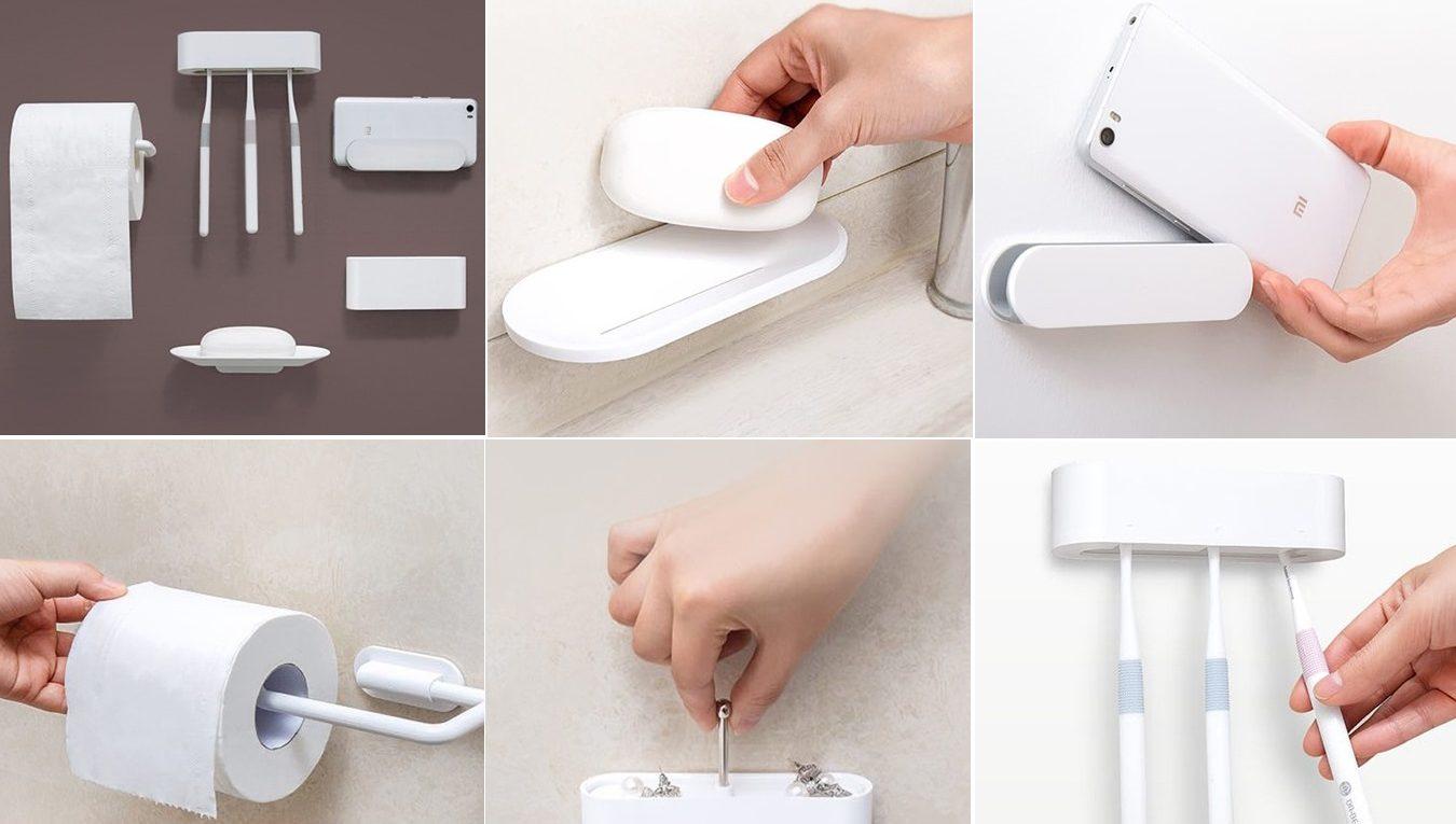 Белый держатель от Xiaomi Happy Life Five Bathroom Sets, для предметов - зубная щетка, мыло, туалетная бумага, гаджет